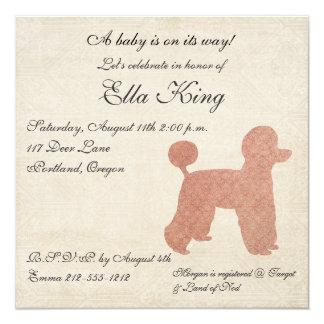Invitation rose vintage de bébé de silhouette de