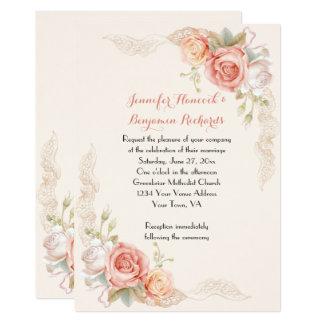 Invitation rose vintage de mariage de dentelle de