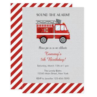 Invitation rouge d'anniversaire de camion de
