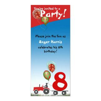 Invitation rouge d'anniversaire de tracteur