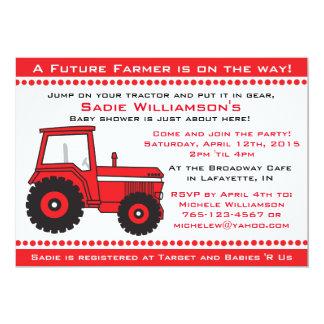 Invitation rouge de baby shower de tracteur