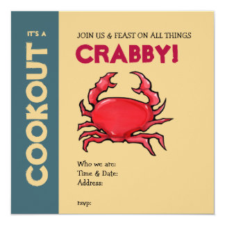 Invitation rouge de barbecue de sable de crabe