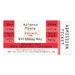 Invitation rouge de billet d'admission de partie d cartes de vœux avec photo
