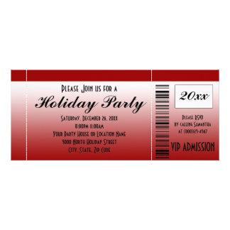 Invitation rouge de billet de fête de vacances