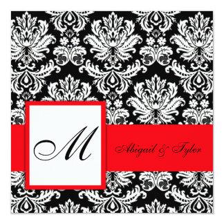Invitation rouge de damassé de monogramme de carton d'invitation  13,33 cm