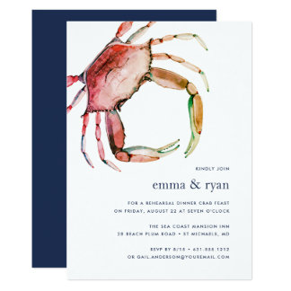 Invitation rouge de dîner de répétition de crabe