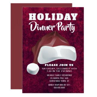 Invitation rouge de dîner de vacances de Père Noël
