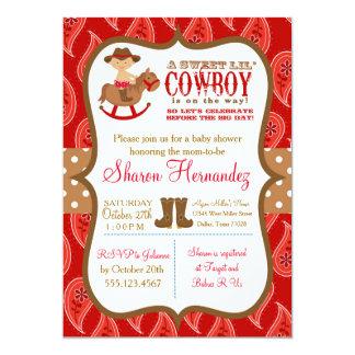 Invitation rouge de douche de bébé de cowboy