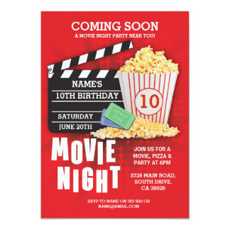 Invitation rouge de fête d'anniversaire de cinéma