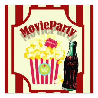 Invitation rouge de fête d'anniversaire de film de