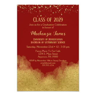 Invitation rouge de fête de remise des diplômes de