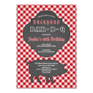Invitation rouge de guingan de craie de BARBECUE