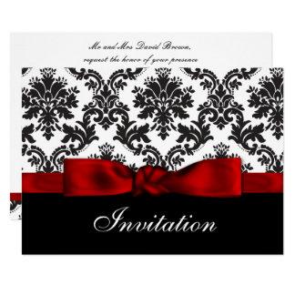 Invitation rouge de mariage damassé
