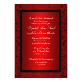 Invitation rouge de mariage damassé d'aluminium