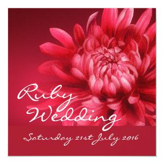 Invitation rouge de noce 40 ans de carré carton d'invitation  13,33 cm