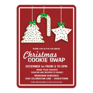 Invitation (rouge) de partie d'échange de biscuit