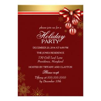 Invitation rouge de vacances de Noël de ruban et