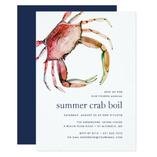Invitation rouge d'ébullition de crabe du crabe |