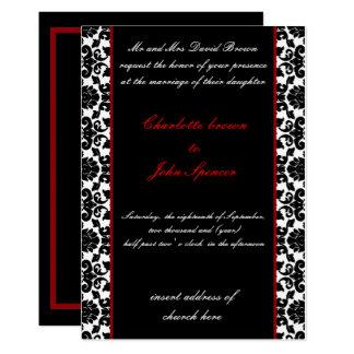 invitation rouge élégante de mariage damassé