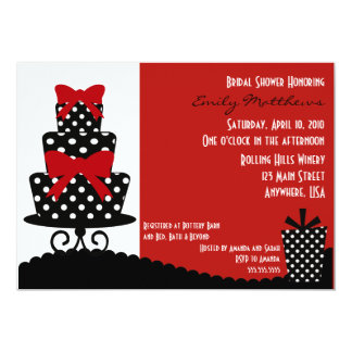 Invitation rouge et noire chique carton d'invitation  12,7 cm x 17,78 cm