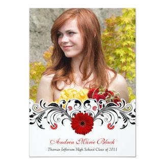 Invitation rouge florale blanche noire d'obtention