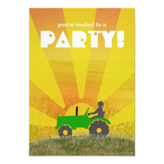 Invitation rouge ou verte de partie de tracteur :