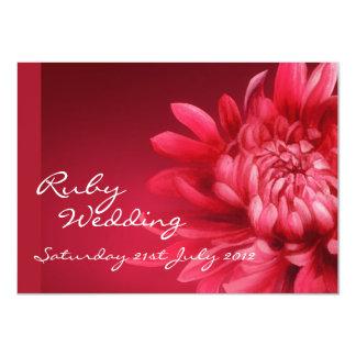 Invitation rouge quarantième de noce carton d'invitation  11,43 cm x 15,87 cm