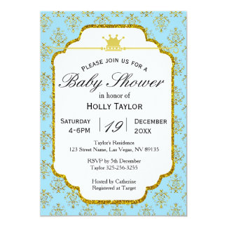Invitation royale de prince baby shower d'or bleu