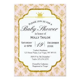 Invitation royale de princesse baby shower d'or