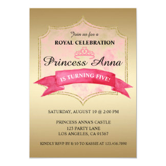 Invitation royale rose de fête d'anniversaire de