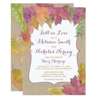 Invitation rustique 3973 de mariage de automne de