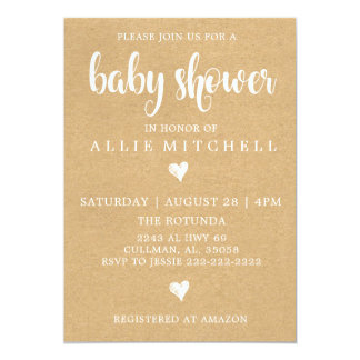 Invitation rustique de baby shower