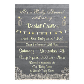 Invitation rustique de baby shower de pot de maçon