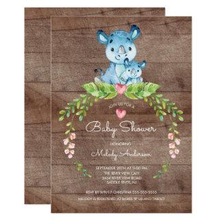 Invitation RUSTIQUE de baby shower d'hippopotame