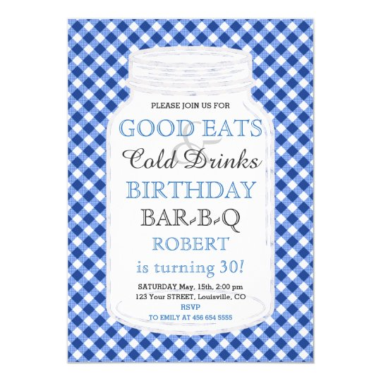 Invitation rustique de BBQ d'anniversaire de
