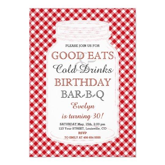 Invitation rustique de BBQ d'anniversaire de pot
