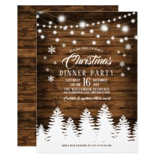 Invitation rustique de dîner de Noël de pays
