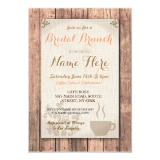 Invitation rustique de douche de brunch de café