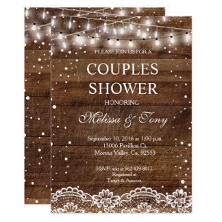 Invitation rustique de douche de couples d'hiver