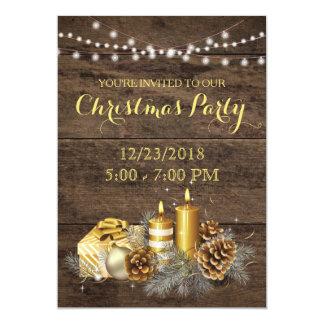 Invitation rustique de fête de Noël de pays d'or