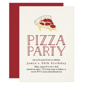 Invitation rustique de partie de pizza