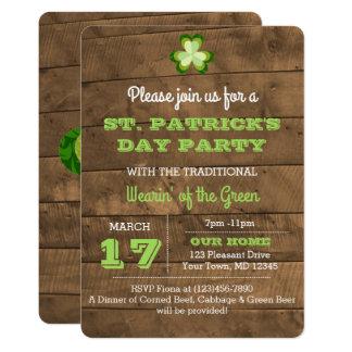 Invitation rustique de partie du jour de St