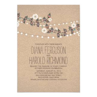 Invitation rustique floral de mariage de ficelles