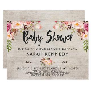 Invitation rustique florale de baby shower de Boho