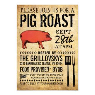 Invitation rustique vintage II de rôti de porc