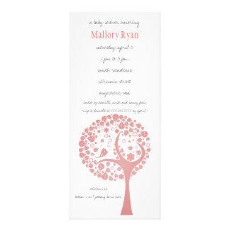 Invitation saumonée de baby shower d arbre fleuris