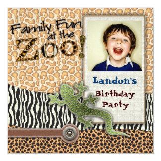 Invitation sauvage de photo d'anniversaire de zoo