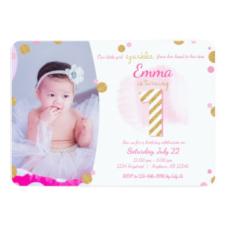 Invitation scintillante de premier or rose