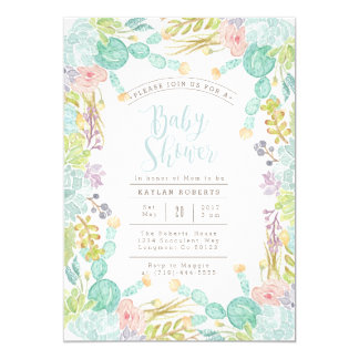 Invitation succulent de baby shower de l'aquarelle