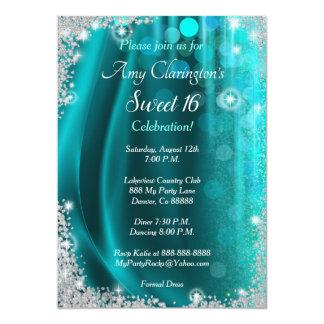 Invitation Teal du bonbon 16 et diamants